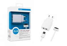 Apple 2 USB компакт 2,1 А+универсальный кабель для Apple iPhone,iPad,iPod