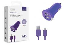 Deppa 2 USB 2,1А, дата-кабель micro USB,фиолетовый