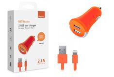 Apple 2 USB 2,1А, дата-кабель 8-pin для Apple,оранжевый
