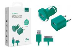 Apple АЗУ+СЗУ 1А, дата-кабель 30-pin для Apple,бирюзовый