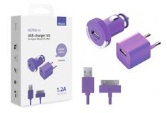 Apple АЗУ+СЗУ 1А, дата-кабель 30-pin для Apple,фиолетовый