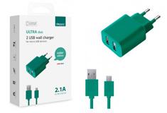 multibrand 2 USB, 2,1A + кабель microUSB