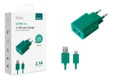 multibrand 2 USB, 2,1А + кабель microUSB (#)