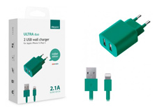 Apple 2 USB, 2,1А + кабель iPhone5/6