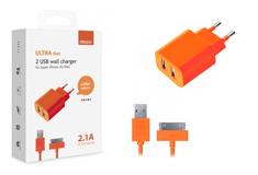 Apple 2 USB, 2,1A + кабель iPhone3/4