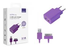 Apple 2 USB, 2,1A + кабель iPhone3/4 (#)